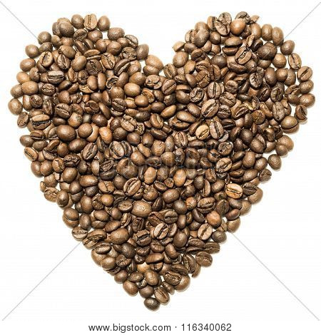 Heart of coffee beans are spinning on the table