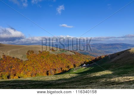 Horizontal Autumn Mountain Landscape With House. Beautiful Sunny Autumn Mountains View With House, M