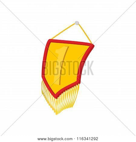 Golden pennant with gold tassels cartoon icon