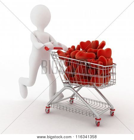 3d person with red hearts on supermarket pushcart. Rendered on white.