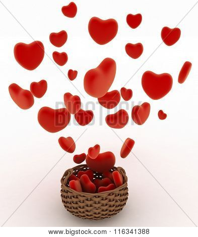 Heart falling into a wicker basket. The concept of a gift with love. 3d render illustration on a white background