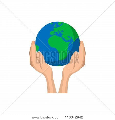 Hands holding globe cartoon icon