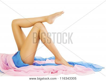 Woman Legs Beauty, Body Skin Care, Model Lying On White