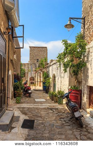 traditional paved street in Areopolis town, Greece