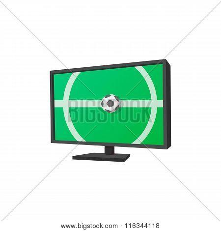 Football match on tv cartoon icon