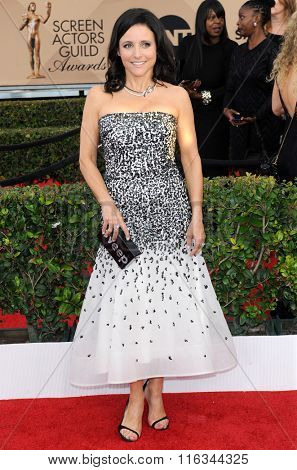Julia Louis-Dreyfus at the 22nd Annual Screen Actors Guild Awards held at the Shrine Auditorium in Los Angeles, USA on January 30, 2016.