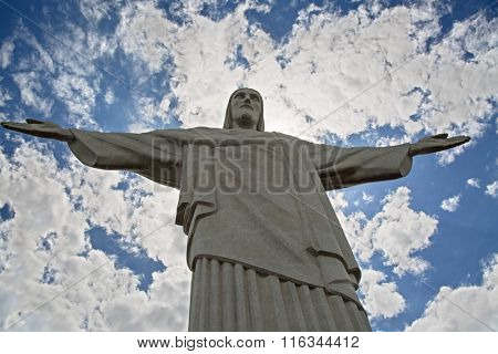 RIO DE JANEIRO, BRAZIL - NOVEMBER 05, 2015: Statue of Christ the Redeemer on the top of Corcovado mountain. Statue is iconic symbol and one of the main attractions of the city.