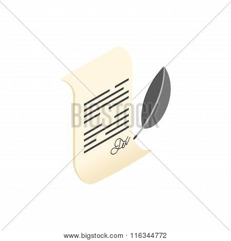 Scroll and quill pen isometric 3d icon