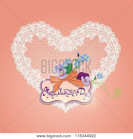 Vintage Card, Calligraphic Text Happy Valentines Day. Bouquet Of Beautiful Pansy And Forget Me Not F