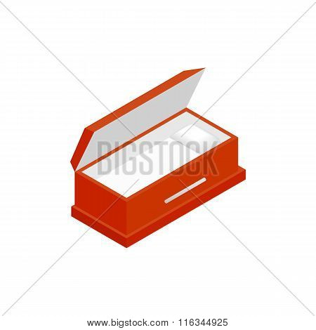 An open coffin isometric 3d icon