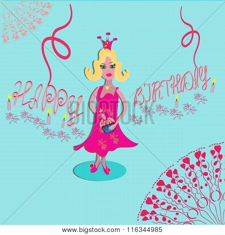 girl with birthday cupcake and happy birhday hand drawn