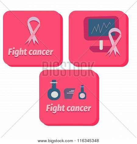 medical icons for fight cancer