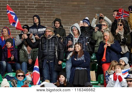 PUSHKIN, LENINGRAD OBLAST, RUSSIA - OCTOBER 10, 2015: Norwegian fans support their team during the qualifying match of European Championship 2016 in American football. Russia won the match 20:0
