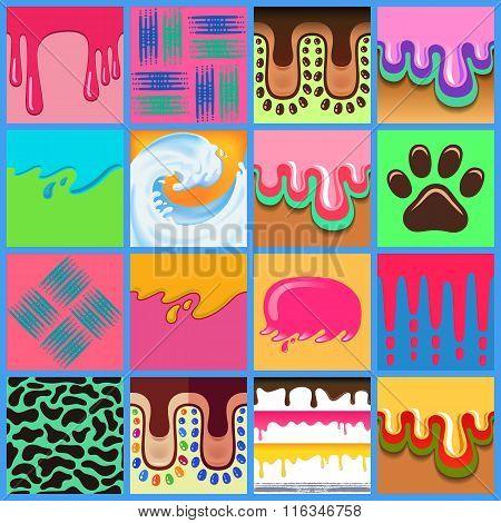 Colored Seamless Pattern Drips Set