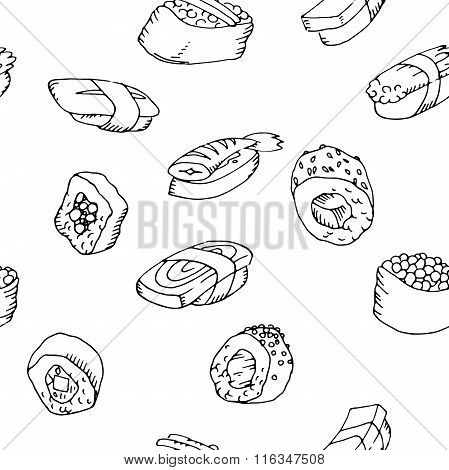Seamless pattern sushi set