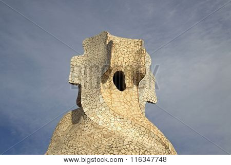 Barcelona, Catalonia, Spain - December 13, 2011: Chimneys Shaped Anthropomorphic Soldiers On The Ter