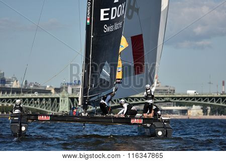 ST. PETERSBURG, RUSSIA - AUGUST 20, 2015: Catamaran of Lino Sonego Team Italia of Italy during 1st day of St. Petersburg stage of Extreme Sailing Series. Red Bull Sailing Team of Austria won the day