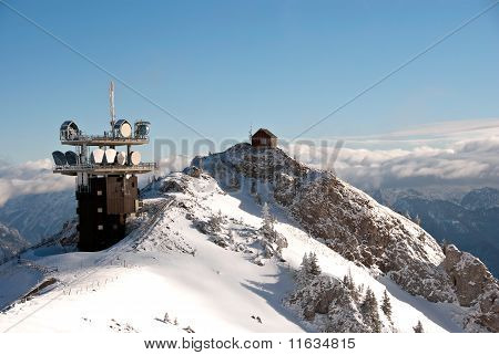 Winter Austrian Alps  Telecommunication And Meteo Station