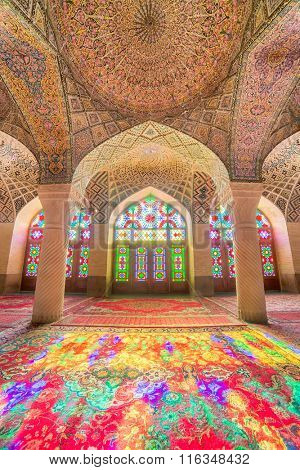 Shiraz, Iran - December 27, 2015: Nasir Al-Mulk Mosque in Shiraz, Iran, also known as Pink Mosque