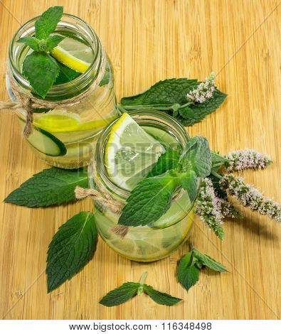 Refreshing Water With Lemon, Mint And Cucumber