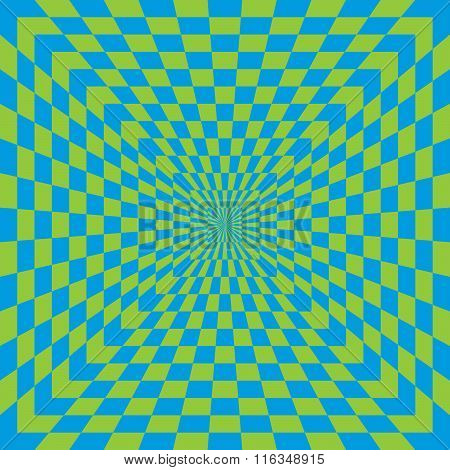 Checkered optical illusion in blue and green.