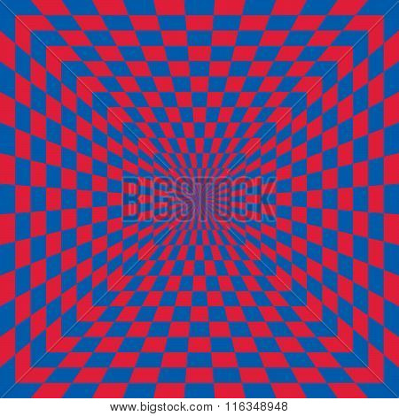 Checkerboard optical illusion in red and blue.