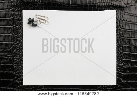 Paper Clips And Thumbtacks Lying On A White Paper