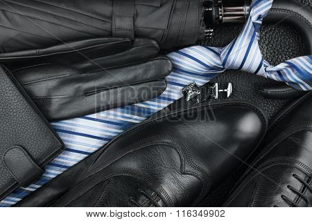 Classic Mens Shoes, Tie, Cufflinks, Gloves, Umbrella On Natural Skin