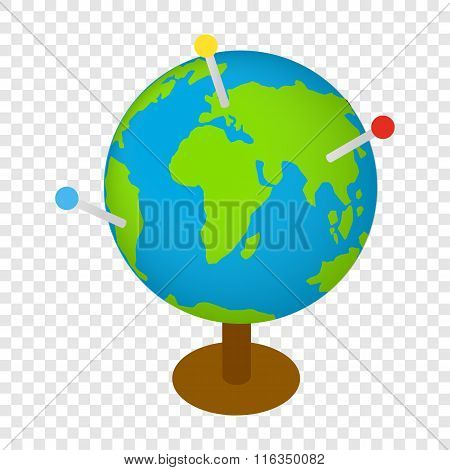 Globe with markers isometric 3d icon