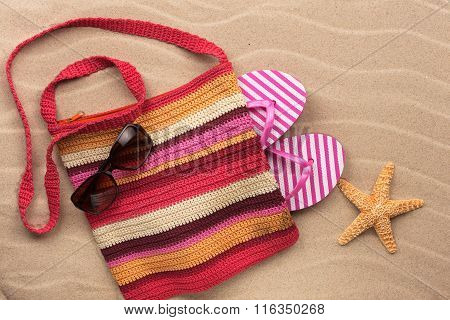 Beach Bag With  Flip Flops, Sunglasses And Starfish.