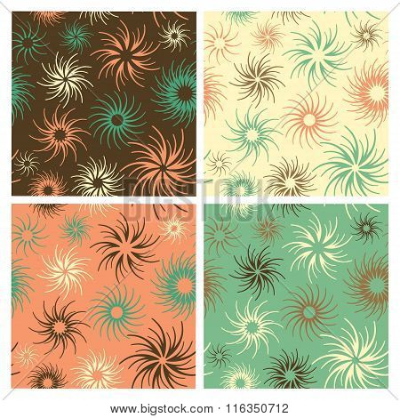 Vector abstract floral seamless pattern in four colorways. Colors are grouped and patterns are in the swatches palette.