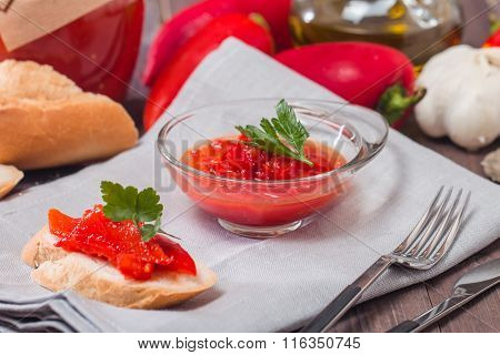 Appetizer Of Marinated Red Pepper