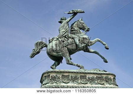 Vienna, Austria - April 22, 2010: Statue Of Prince Eugene In Front Of Hofburg Palace, Vienna, Austri