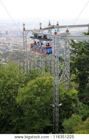 Barcelona, Catalonia, Spain - August 29, 2012: Attraction In The Tibidabo Amusement Park, Barcelona,