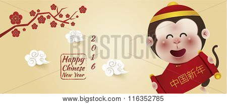 Chinese New Year 2016, Cute Monkeys , Chinese Background, Vector