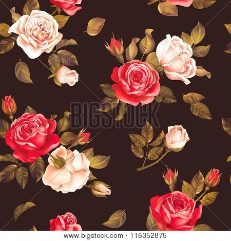 Seamless dark pattern with red and white roses. Vector illustration.
