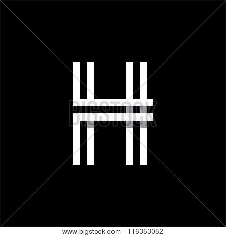Capital letter H. Overlapping with shadows logo, monogram trendy design.