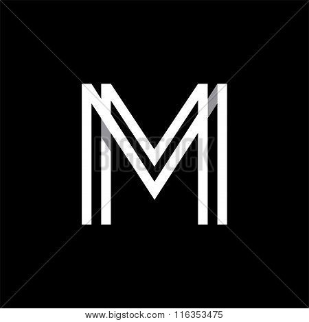 Capital letter M. Overlapping with shadows logo, monogram trendy design.