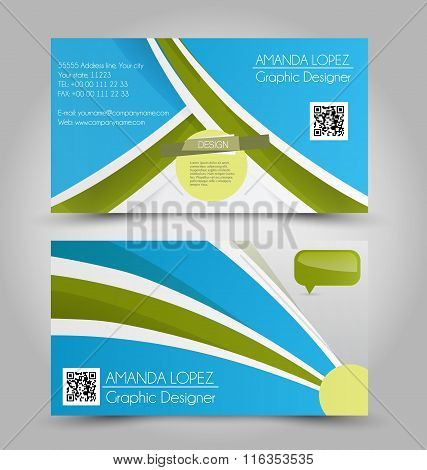 Business Card Design Set Template For Company Corporate Style. Blue  And Green Color. Vector Illustr
