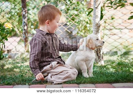 Little Boy Playing With A White Labrador Puppy