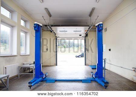 Interior Of A Car Repair Garage.