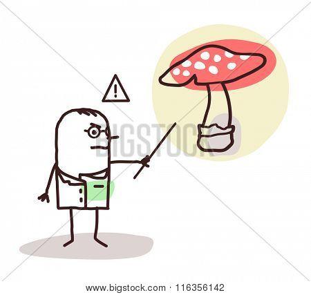 vector cartoon doctor with dangerous mushroom