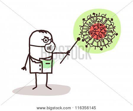 vector cartoon doctor with H1N1 virus