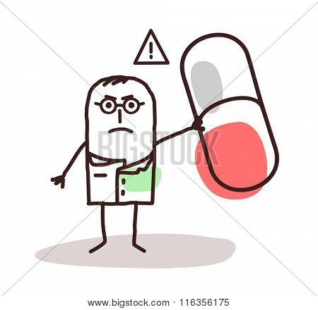 vector cartoon doctor with dangerous medicine capsule