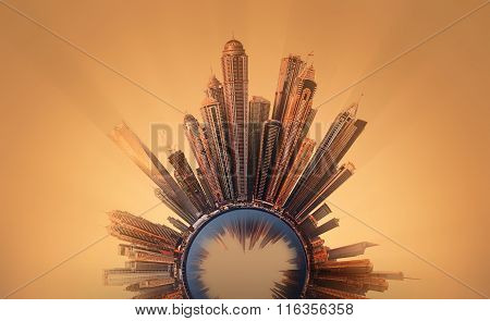 Miniature Earth Planet with all important buildings and attractions in Dubai