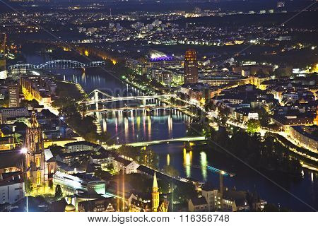 Frankfurt Am Main At Night With View To Bridges Spanning The Main