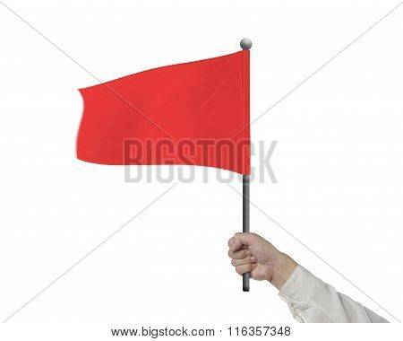 Man Hand Holding Wavy Red Flag Isolated In White