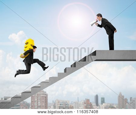 Leader Houting At Colleague Carrying Euro Running On Money Stairs