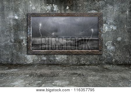 Dirty Wooden Frame Window On Mossy Wall With Storm Outside