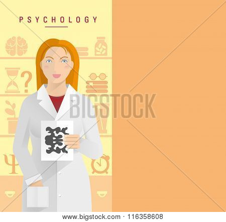 A Young Girl In A White Coat Psychologist.